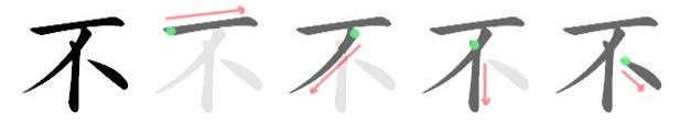 stroke order for 不