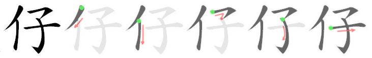 stroke order for 仔