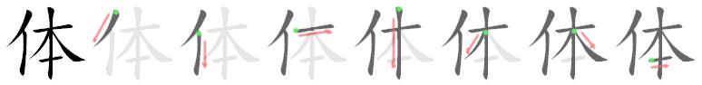 stroke order for 体