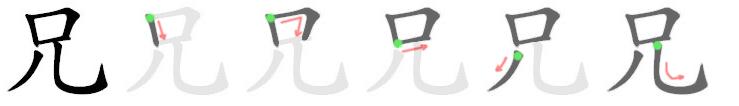 stroke order for 兄
