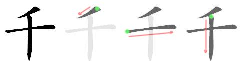 stroke order for 千