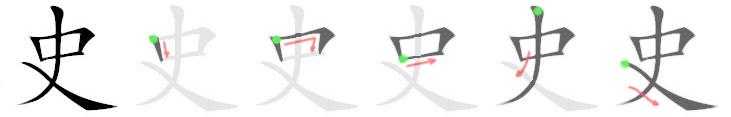 stroke order for 史