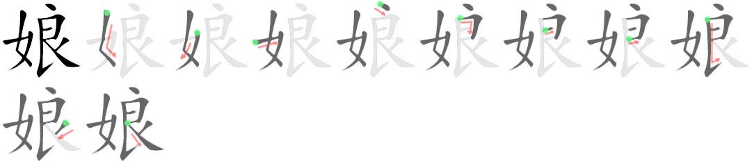 stroke order for 娘