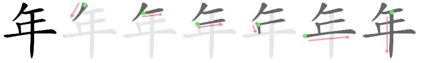 stroke order for 年