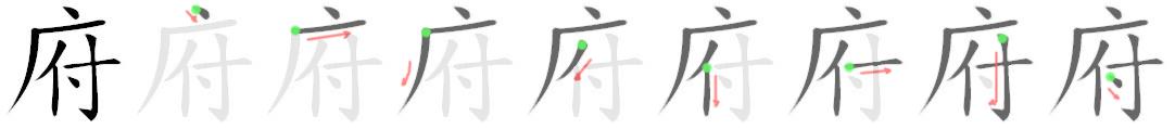 stroke order for 府