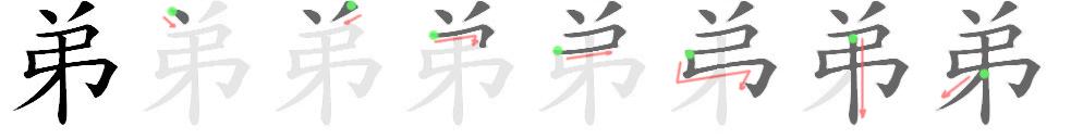 stroke order for 弟