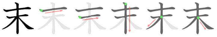 stroke order for 末