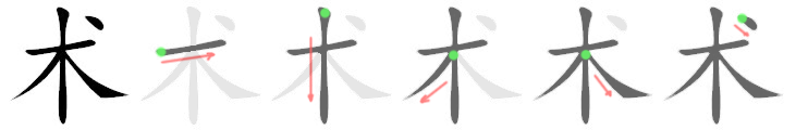 stroke order for 术
