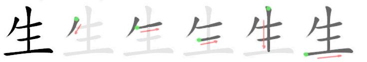 stroke order for 生