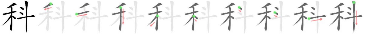 stroke order for 科