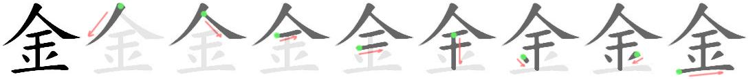 stroke order for 金